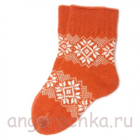 Женские оранжевые вязаные носки с орнаментом