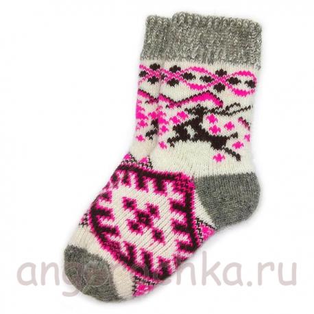 Детские шерстяные носки с оленями