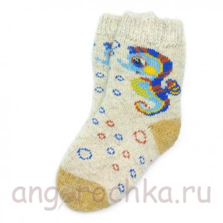 Детские шерстяные носки с морским коньком