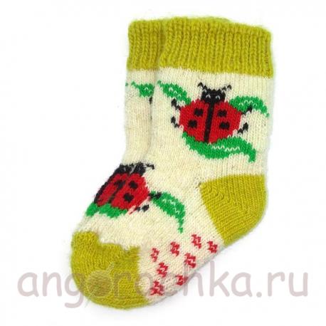 Детские шерстяные носки с божьей коровкой