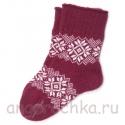 Женские сливовые шерстяные носки с орнаментом