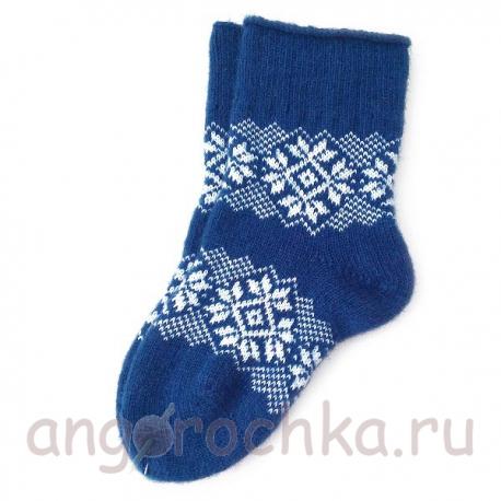 Женские синие шерстяные носки с орнаментом