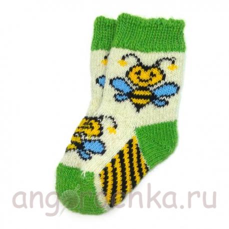 Детские шерстяные носки с пчелками