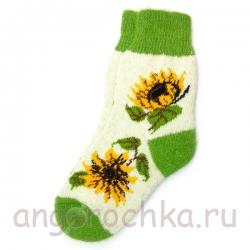 Женские шерстяные носки с подсолнухами