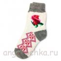 Женские шерстяные носки с розой