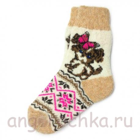 Женские шерстяные носки с собачкой