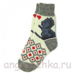 Женские шерстяные носки с кошечкой