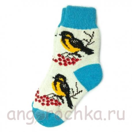 Женские шерстяные носки с синицами
