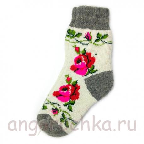 Женские шерстяные носки с цветами