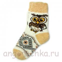 Женские шерстяные носки с совой