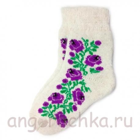 Женские шерстяные носки с цветочным рисунком
