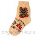 Женские шерстяные носки с плюшевым мишкой