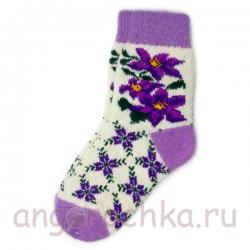 Женские шерстяные носки с сиреневыми цветами