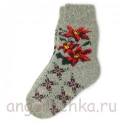 Женские шерстяные носки с красными цветами