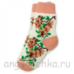 Женские шерстяные носки с бежевыми цветами