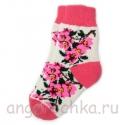 Женские шерстяные носки с розовыми цветами
