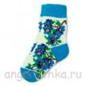 Женские шерстяные носки с синими цветами