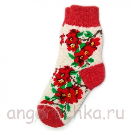 Женские шерстяные носки с яркими цветами