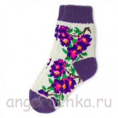 Женские шерстяные носки с фиолетовыми цветами