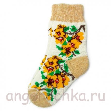 Женские шерстяные носки с желтыми цветами