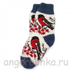Детские безразмерные шерстяные носки со снегирями
