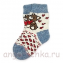 Детские безразмерные шерстяные носки с мишками