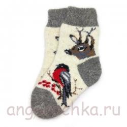 Детские шерстяные носки с оленем и снегирем