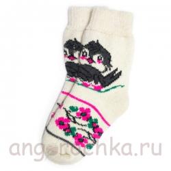 Женские шерстяные носки с влюбленными воробьями