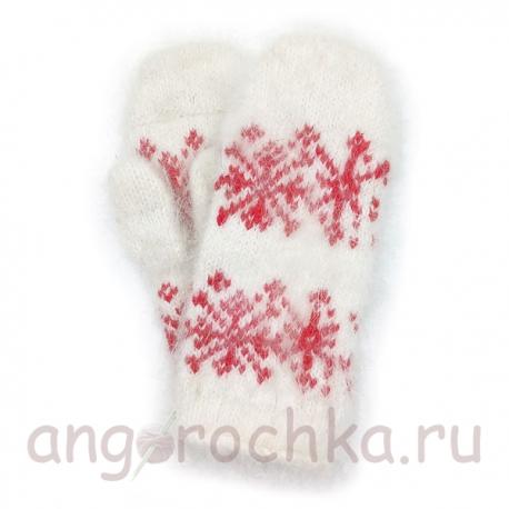 Детские пуховые варежки со снежинками