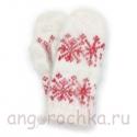 Детские пуховые варежки с красными снежинками