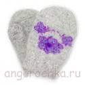 Детские шерстяные варежки-малышки с фиолетовыми цветочками