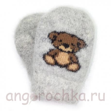 Детские шерстяные варежки-малышки с медвежонком