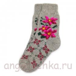 Женские шерстяные носки с лилиями