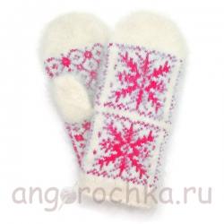 Белые пуховые варежки с красными снежинками
