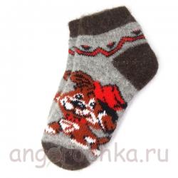 Короткие шерстяные носки с веселой собачкой