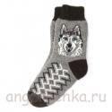 Теплые подростковые шерстяные носки с волком