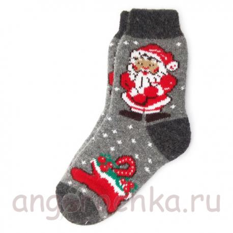 Теплые подростковые шерстяные носки с Дедом Морозом