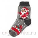Теплые шерстяные носки с Дедом Морозом