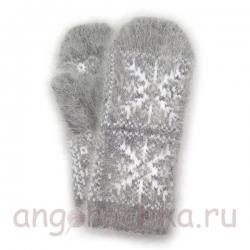 Серые пуховые варежки с белыми снежинками