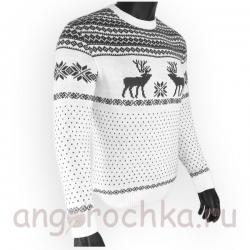 Бело-серый шерстяной свитер с оленями