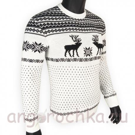 Бело-черный шерстяной свитер с оленями