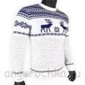 Шерстяной свитер с оленями с темно-синим рисунком