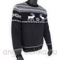 Черный шерстяной свитер с белым рисунком
