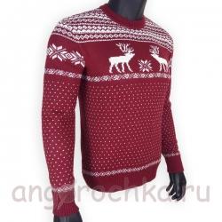 Бардовый шерстяной свитер с белым рисунком - оленями