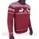 Бордовый шерстяной свитер с белым рисунком - оленями