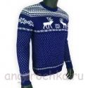 Темно-синий шерстяной свитер с белым рисунком - оленями