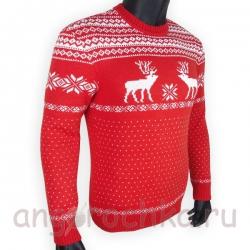 Красный шерстяной свитер с белым скандинавским рисунком