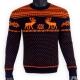 Шерстяной свитер с оранжевым рисунком - оленями