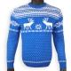 Ярко-синий шерстяной свитер с оленями