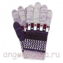 Цветные шерстяные перчатки с рисунком- клеткой